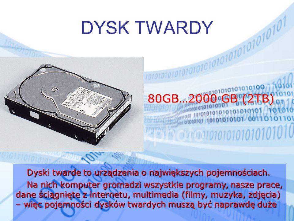 DYSK TWARDY 80GB…2000 GB (2TB) Dyski twarde to urządzenia o największych pojemnościach.