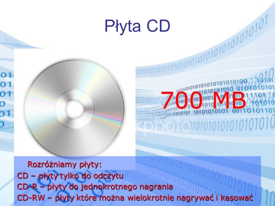 700 MB Płyta CD Rozróżniamy płyty: CD – płyty tylko do odczytu