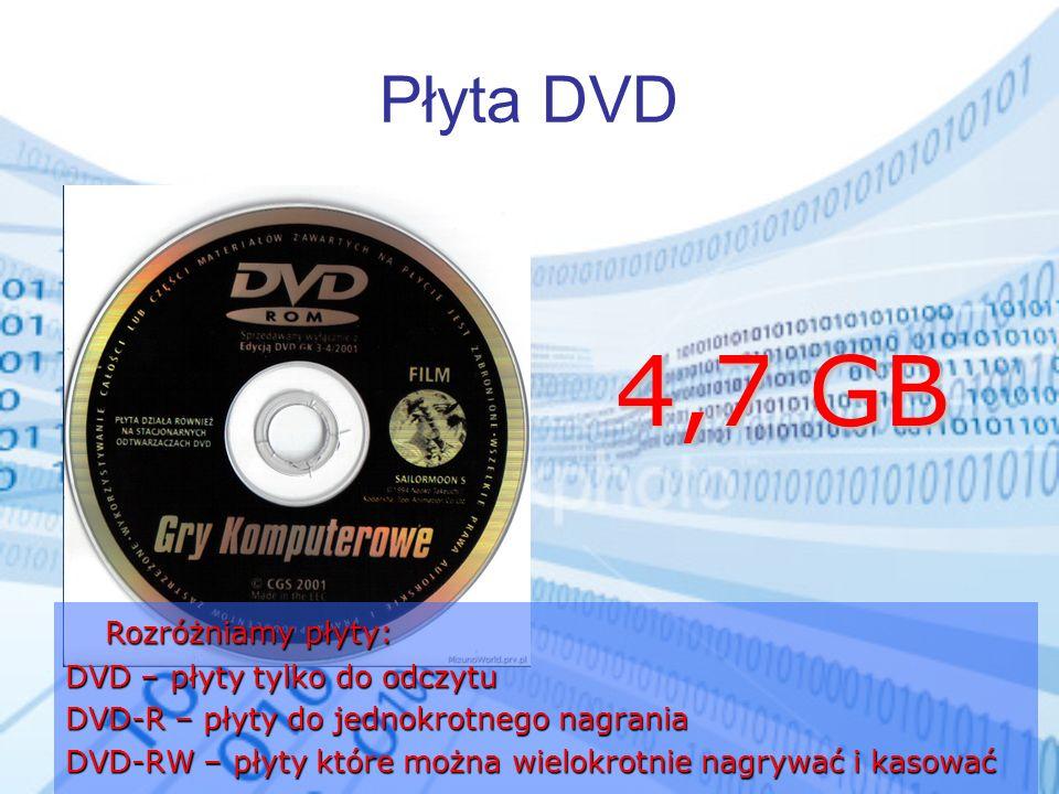 4,7 GB Płyta DVD Rozróżniamy płyty: DVD – płyty tylko do odczytu