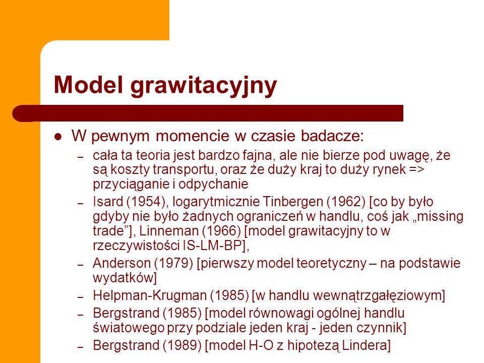 Model grawitacyjny W pewnym momencie w czasie badacze: