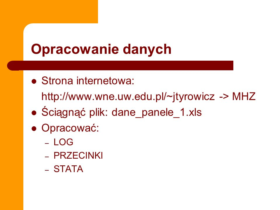 Opracowanie danych Strona internetowa: