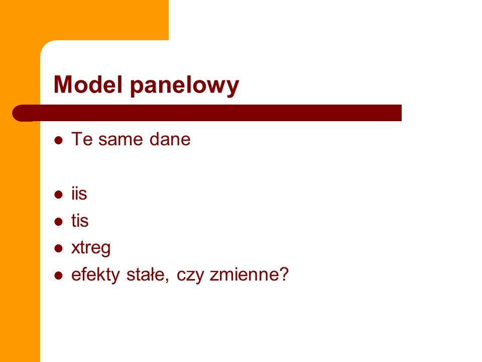 Model panelowy Te same dane iis tis xtreg efekty stałe, czy zmienne