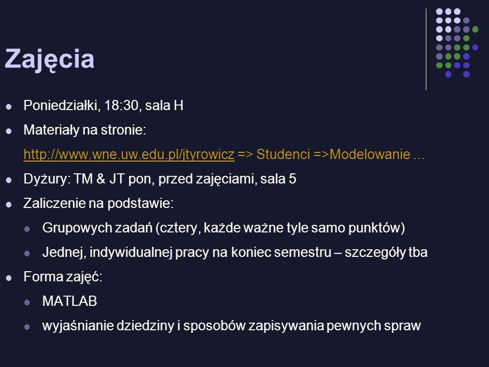 Zajęcia Poniedziałki, 18:30, sala H Materiały na stronie: