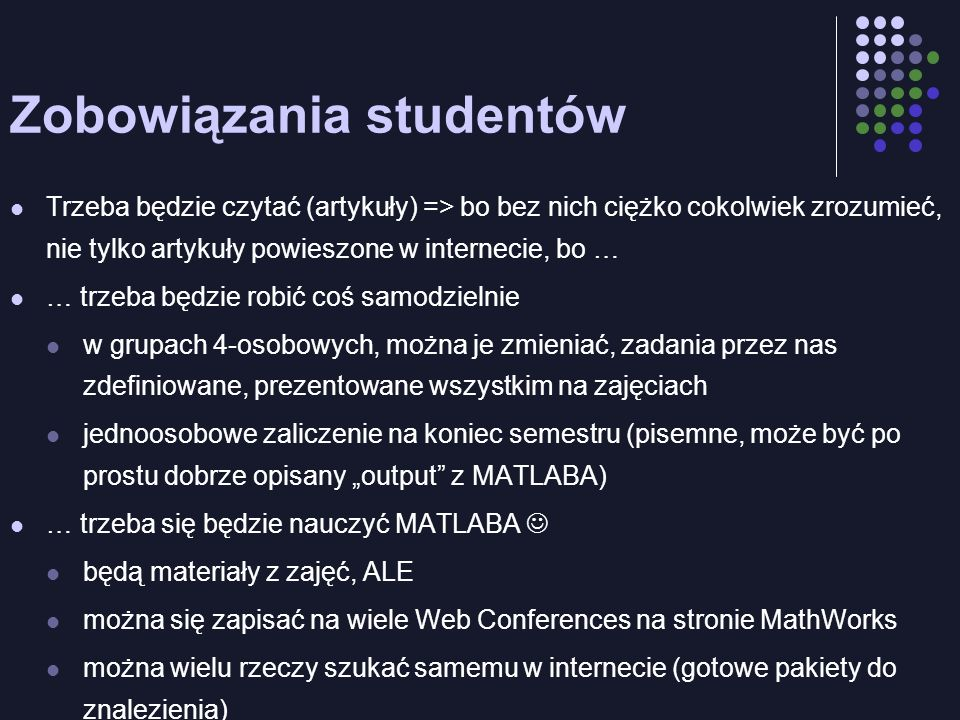 Zobowiązania studentów
