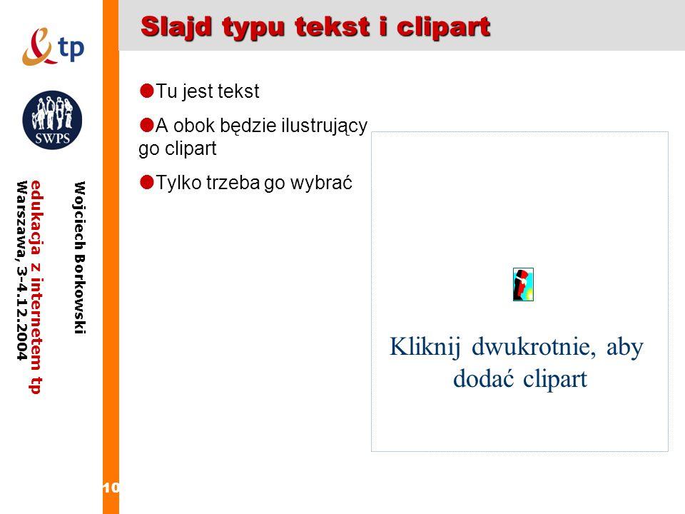 Slajd typu tekst i clipart