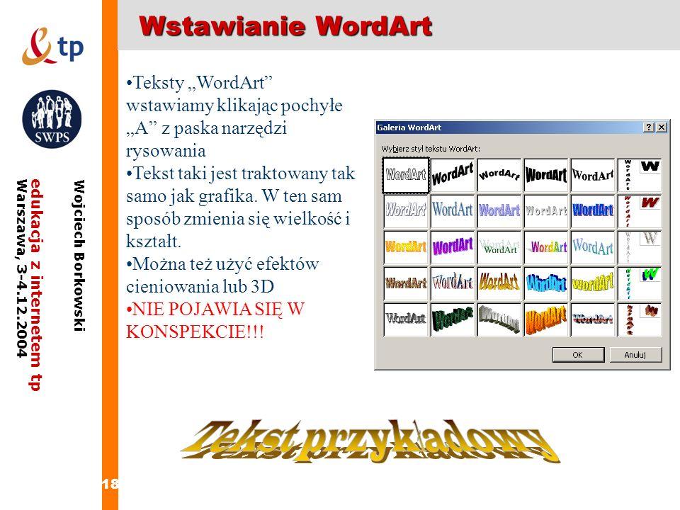 Tekst przykładowy Wstawianie WordArt