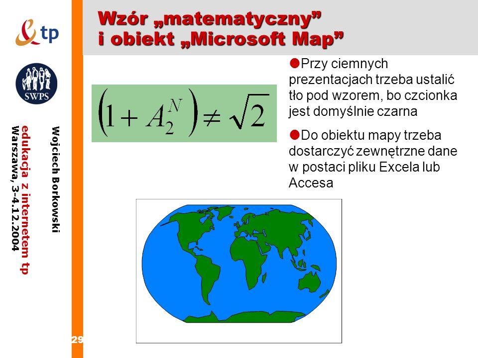 """Wzór """"matematyczny i obiekt """"Microsoft Map"""
