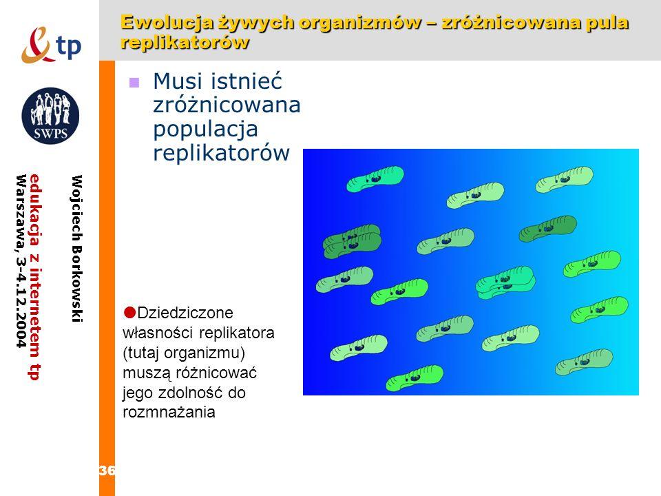 Ewolucja żywych organizmów – zróżnicowana pula replikatorów
