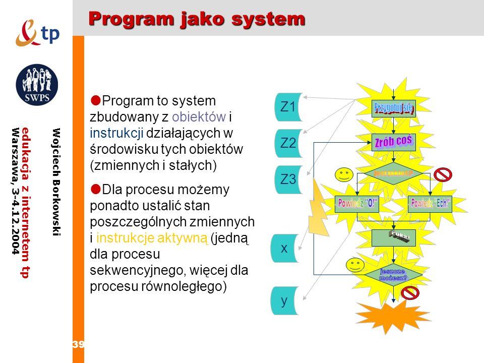 Program jako system Program to system zbudowany z obiektów i instrukcji działających w środowisku tych obiektów (zmiennych i stałych)