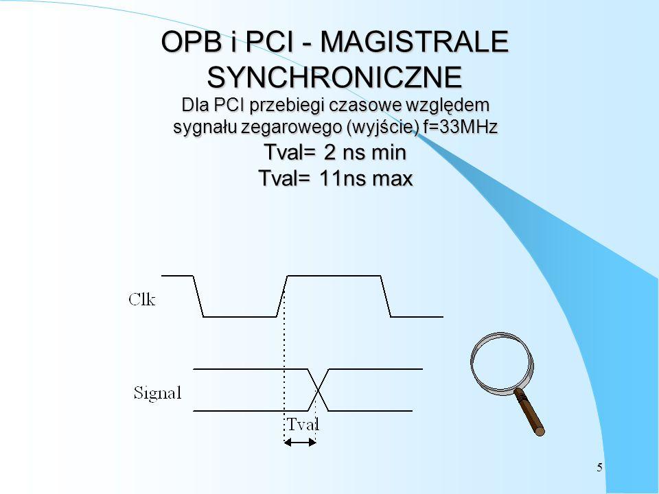 OPB i PCI - MAGISTRALE SYNCHRONICZNE Dla PCI przebiegi czasowe względem sygnału zegarowego (wyjście) f=33MHz Tval= 2 ns min Tval= 11ns max