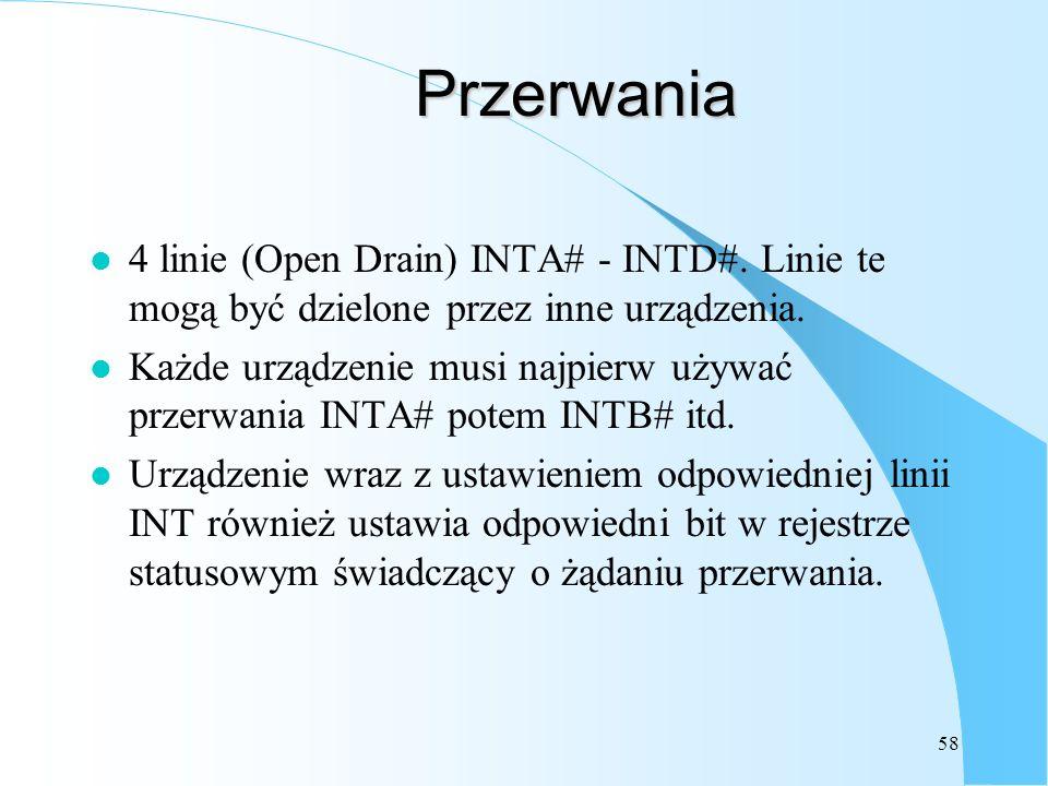 Przerwania 4 linie (Open Drain) INTA# - INTD#. Linie te mogą być dzielone przez inne urządzenia.
