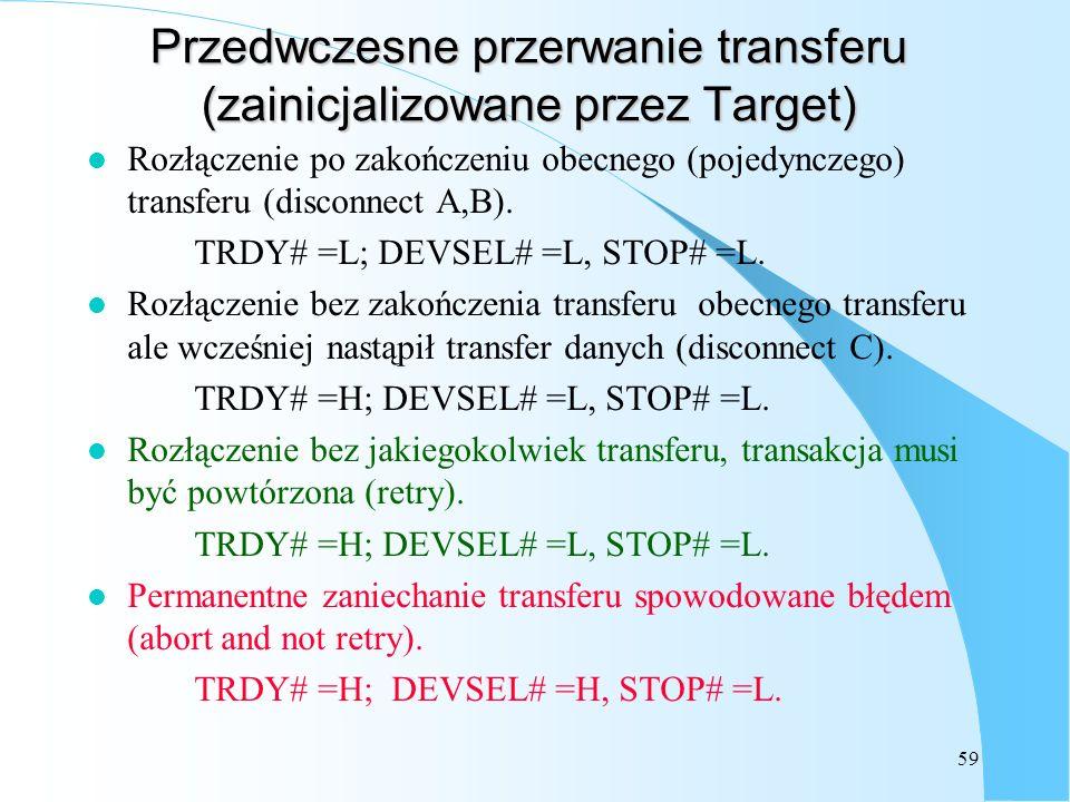 Przedwczesne przerwanie transferu (zainicjalizowane przez Target)