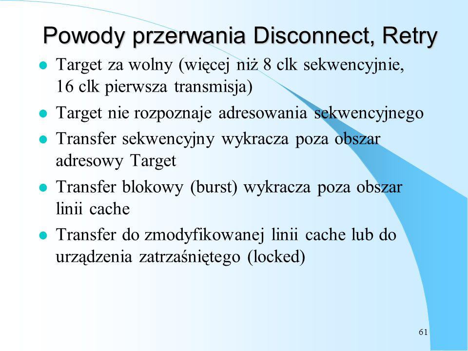 Powody przerwania Disconnect, Retry