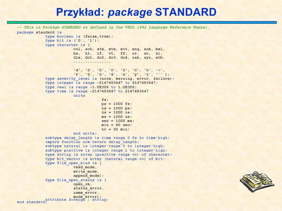 Przykład: package STANDARD