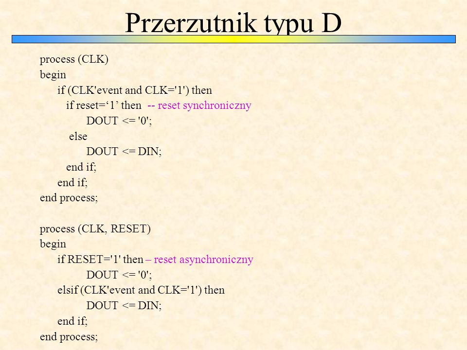 Przerzutnik typu D process (CLK) begin if (CLK event and CLK= 1 ) then