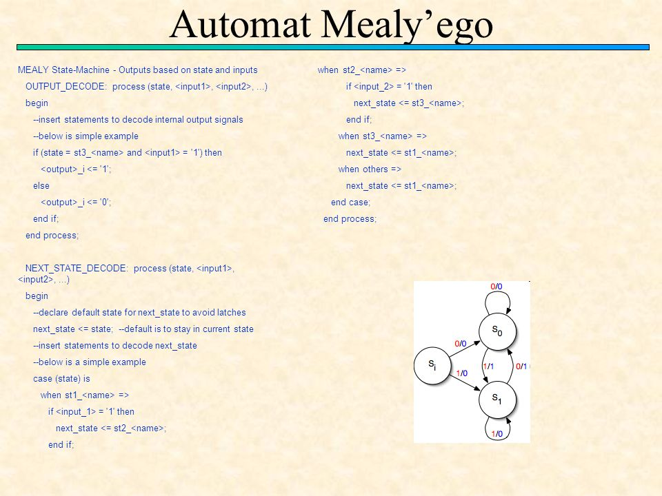 Automat Mealy'ego MEALY State-Machine - Outputs based on state and inputs. OUTPUT_DECODE: process (state, <input1>, <input2>, ...)