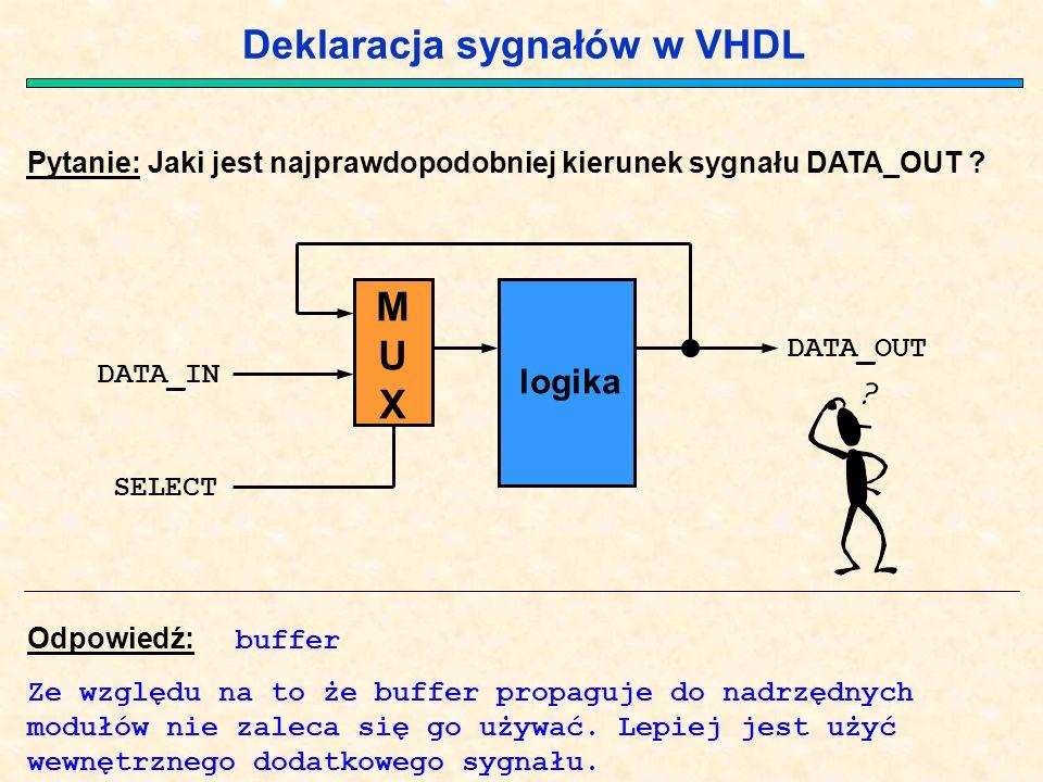 Deklaracja sygnałów w VHDL