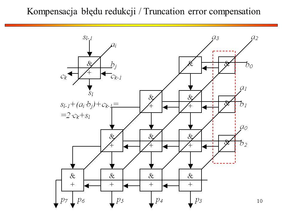 Kompensacja błędu redukcji / Truncation error compensation