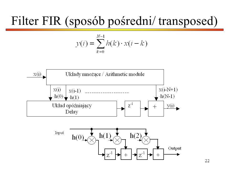 Filter FIR (sposób pośredni/ transposed)