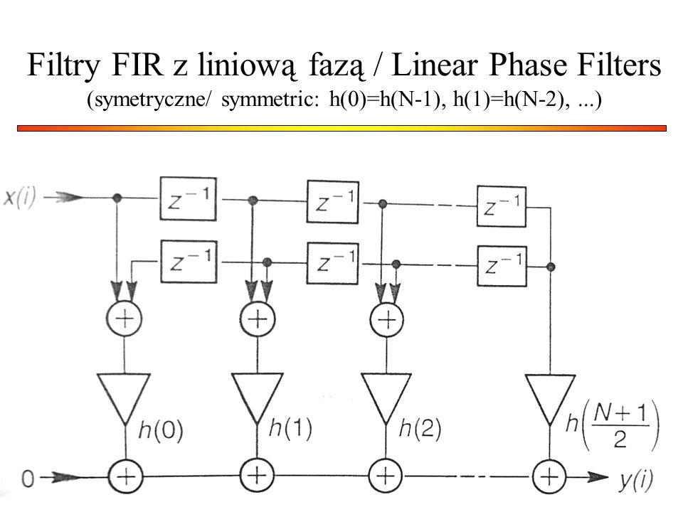 Filtry FIR z liniową fazą / Linear Phase Filters (symetryczne/ symmetric: h(0)=h(N-1), h(1)=h(N-2), ...)
