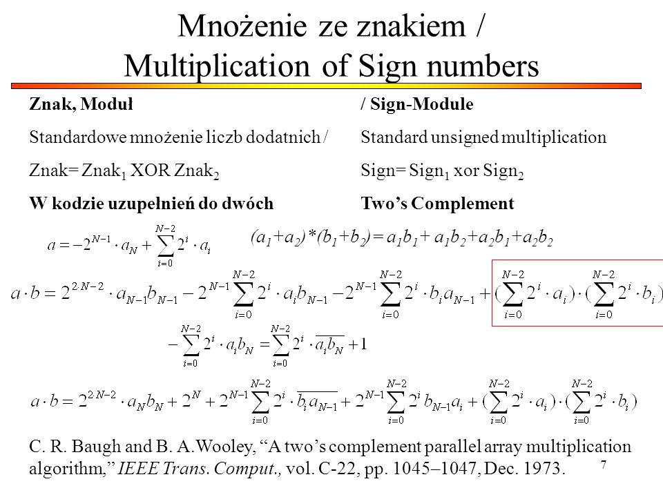 Mnożenie ze znakiem / Multiplication of Sign numbers