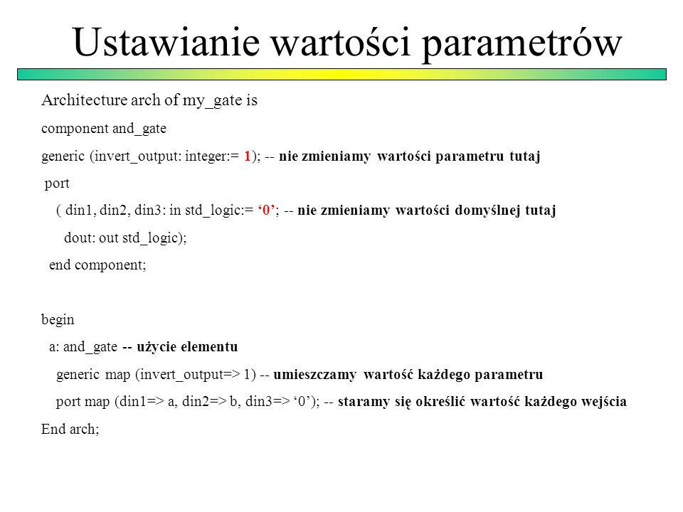 Ustawianie wartości parametrów