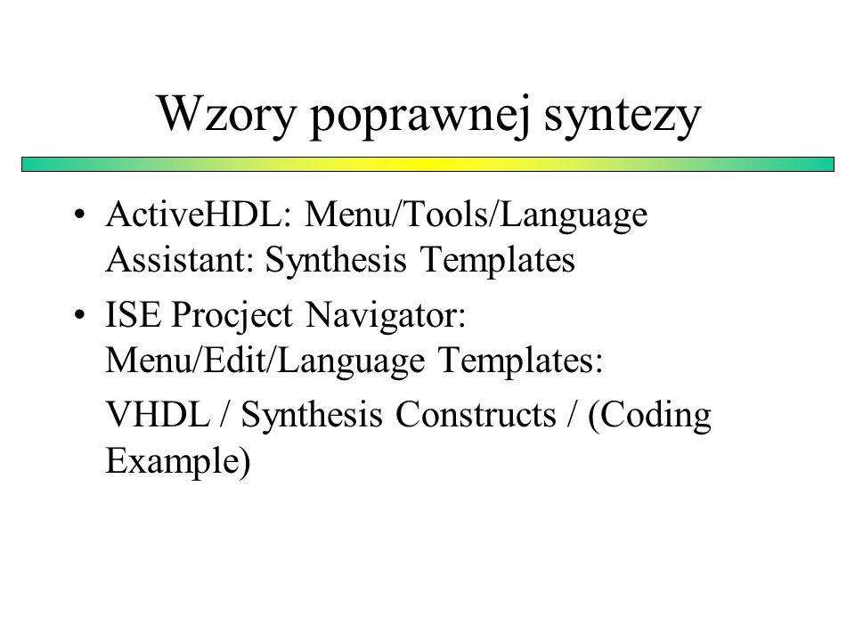 Wzory poprawnej syntezy
