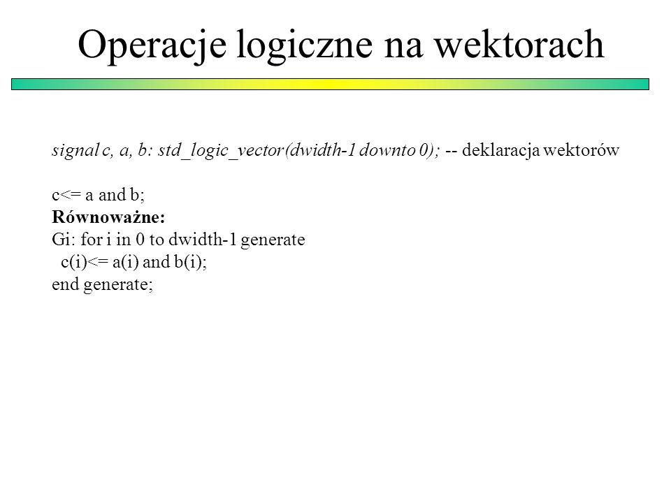 Operacje logiczne na wektorach