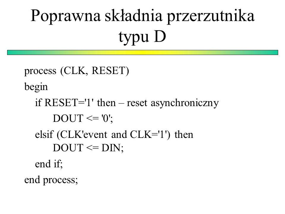 Poprawna składnia przerzutnika typu D