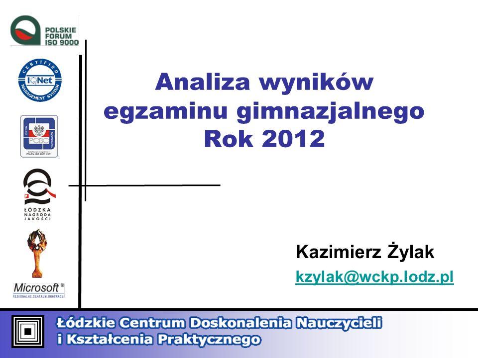 Analiza wyników egzaminu gimnazjalnego Rok 2012