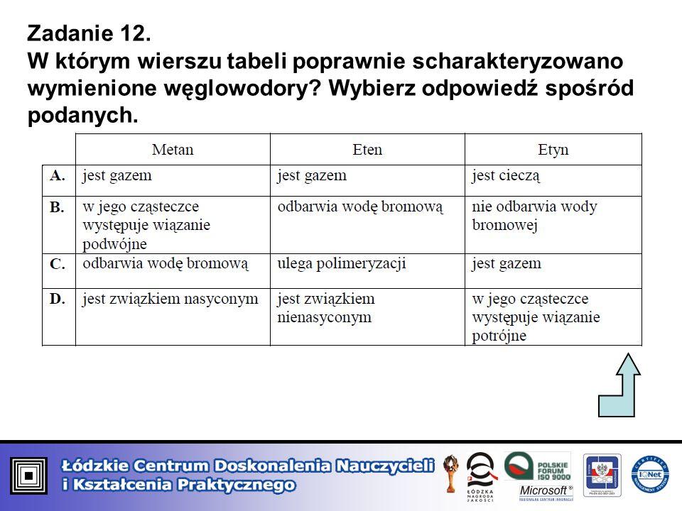 Zadanie 12.W którym wierszu tabeli poprawnie scharakteryzowano wymienione węglowodory.