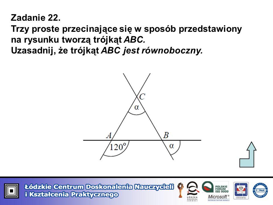 Uzasadnij, że trójkąt ABC jest równoboczny.