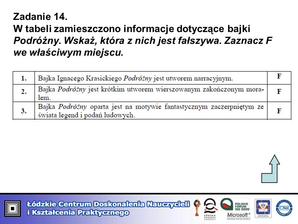 Zadanie 14. W tabeli zamieszczono informacje dotyczące bajki Podróżny.
