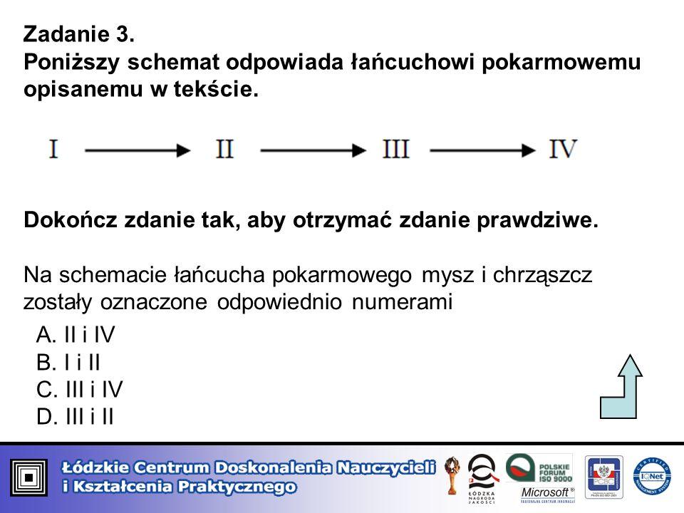 Zadanie 3. Poniższy schemat odpowiada łańcuchowi pokarmowemu opisanemu w tekście. Dokończ zdanie tak, aby otrzymać zdanie prawdziwe.