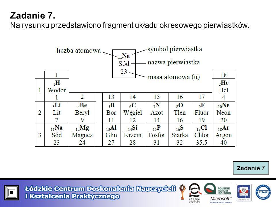 Zadanie 7. Na rysunku przedstawiono fragment układu okresowego pierwiastków. Zadanie 7