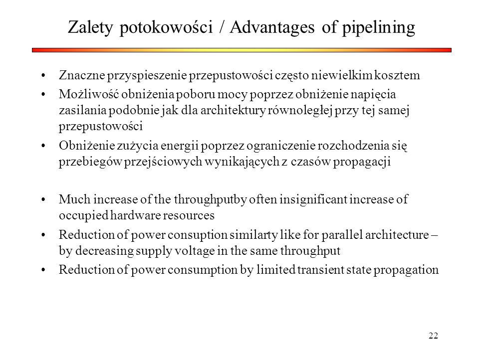 Zalety potokowości / Advantages of pipelining