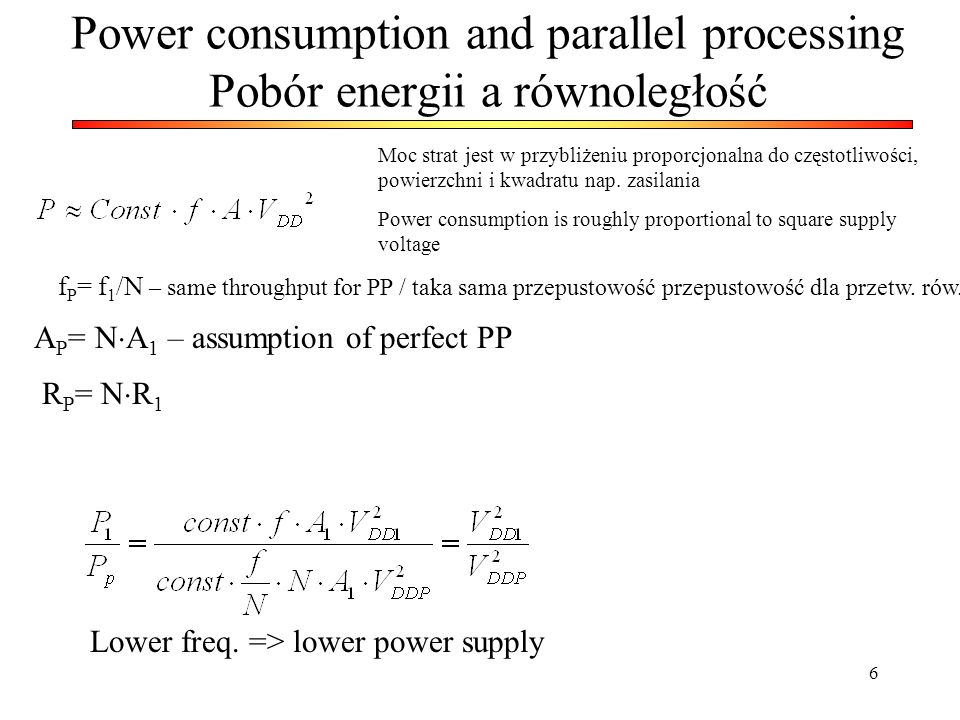 Power consumption and parallel processing Pobór energii a równoległość