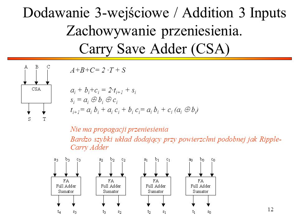 Dodawanie 3-wejściowe / Addition 3 Inputs Zachowywanie przeniesienia