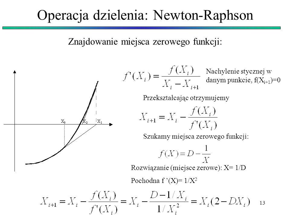 Operacja dzielenia: Newton-Raphson