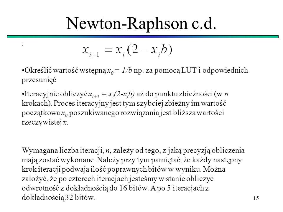 Newton-Raphson c.d. : Określić wartość wstępną x0 = 1/b np. za pomocą LUT i odpowiednich przesunięć.