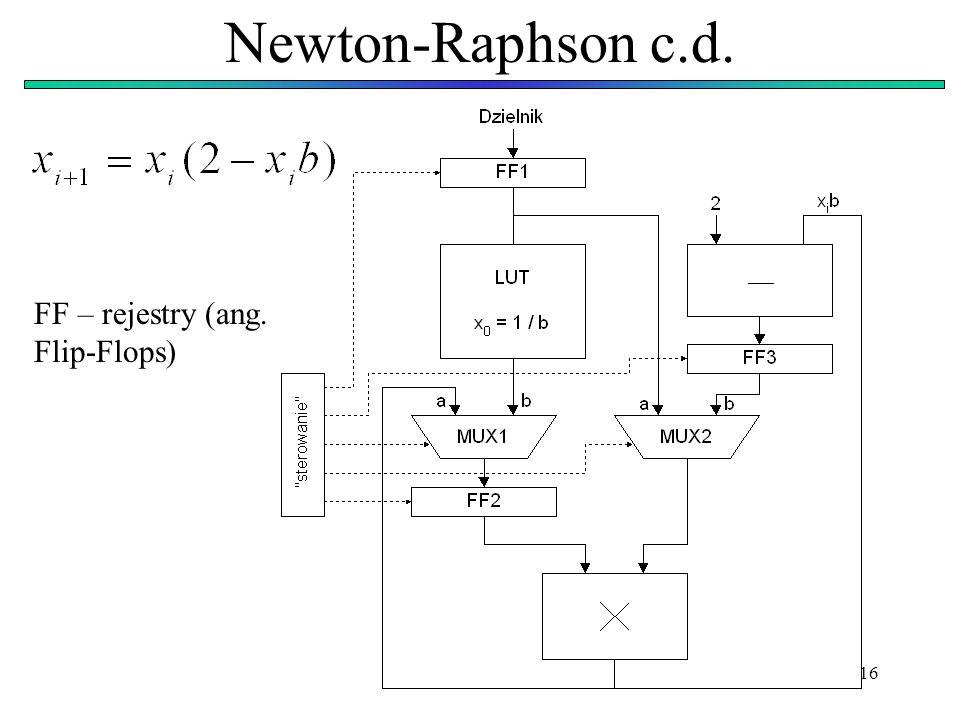Newton-Raphson c.d. FF – rejestry (ang. Flip-Flops)