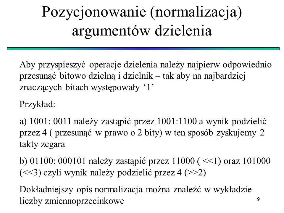 Pozycjonowanie (normalizacja) argumentów dzielenia