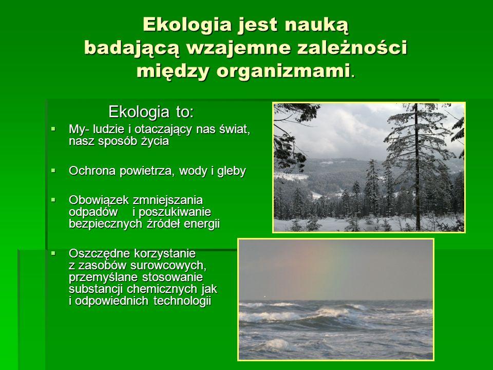 Ekologia jest nauką badającą wzajemne zależności między organizmami.