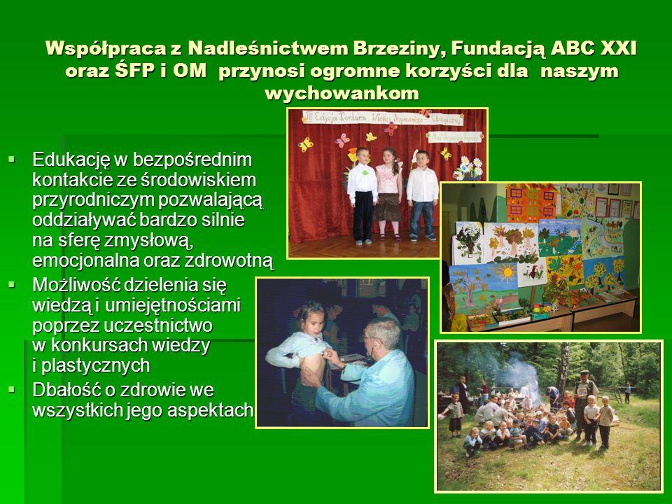 Współpraca z Nadleśnictwem Brzeziny, Fundacją ABC XXI oraz ŚFP i OM przynosi ogromne korzyści dla naszym wychowankom