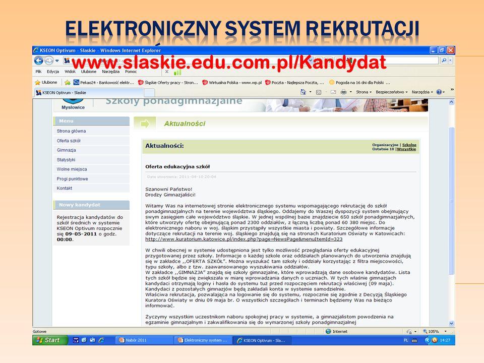 Elektroniczny system rekrutacji do szkół ponadgimnazjalnych