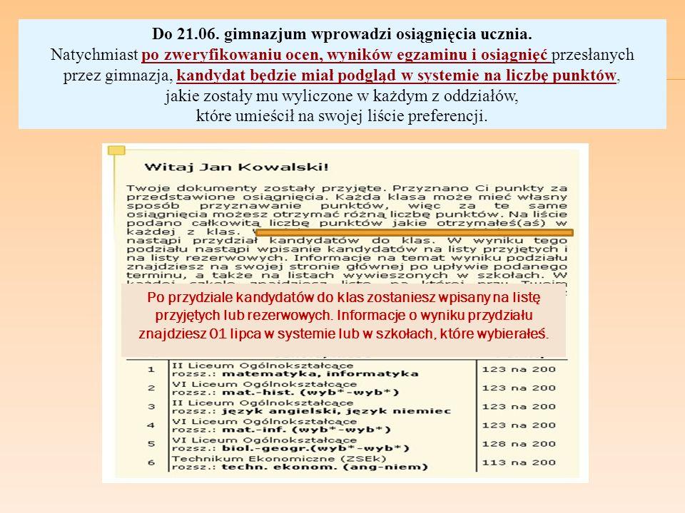Do 21. 06. gimnazjum wprowadzi osiągnięcia ucznia