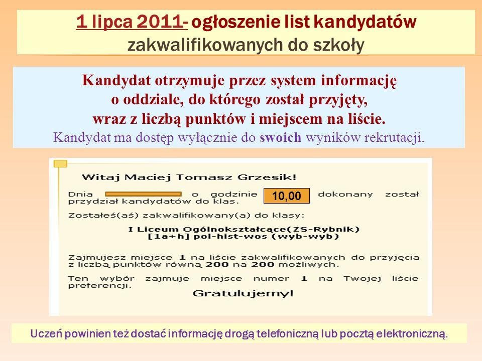1 lipca 2011- ogłoszenie list kandydatów zakwalifikowanych do szkoły