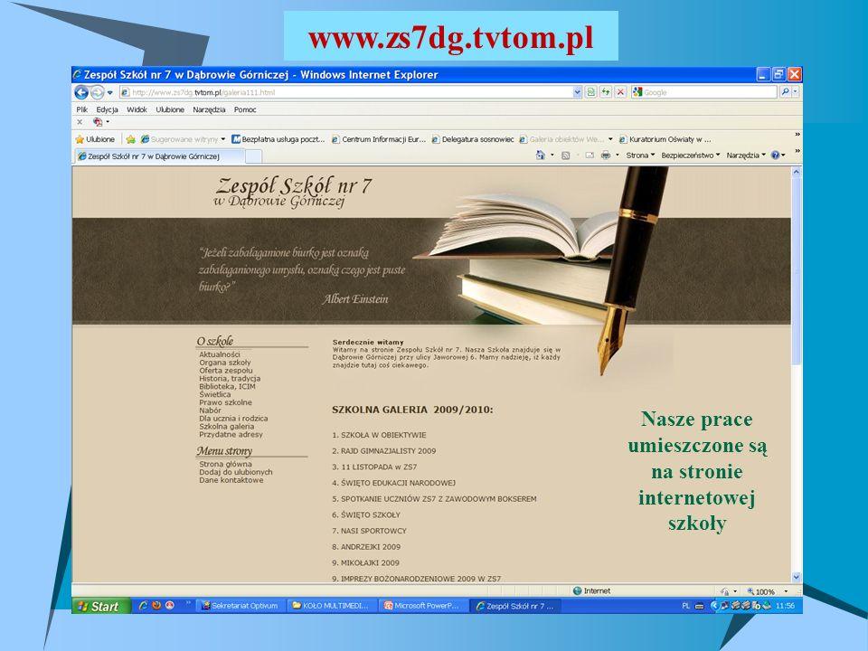 umieszczone są na stronie internetowej szkoły