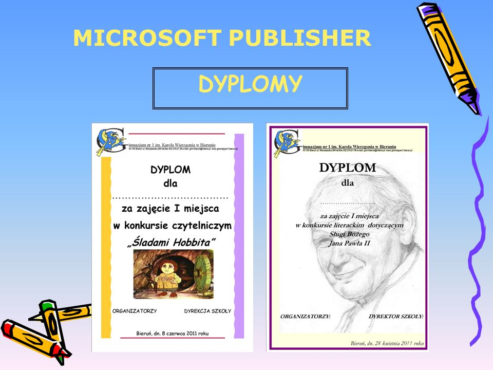MICROSOFT PUBLISHER DYPLOMY