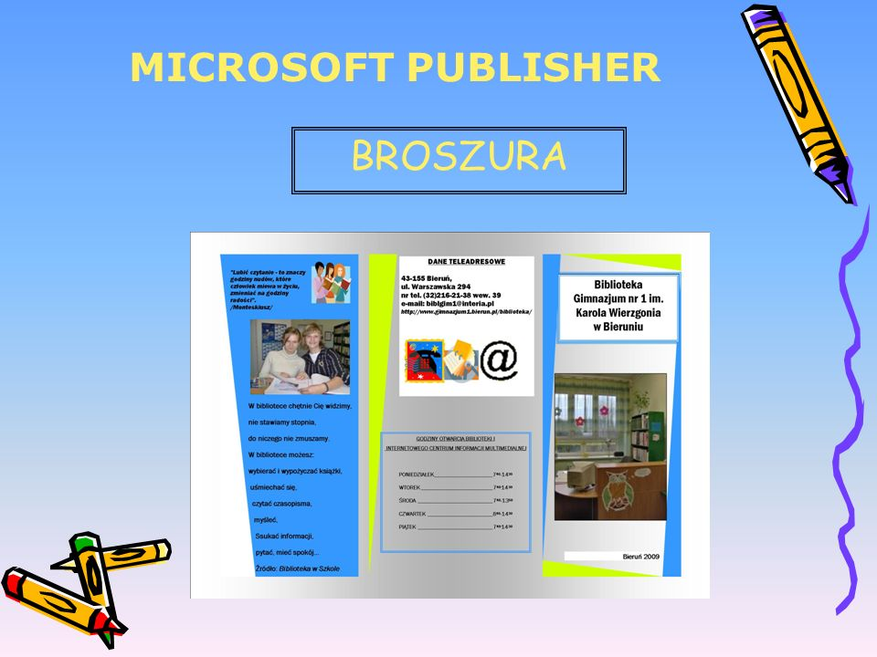 MICROSOFT PUBLISHER BROSZURA